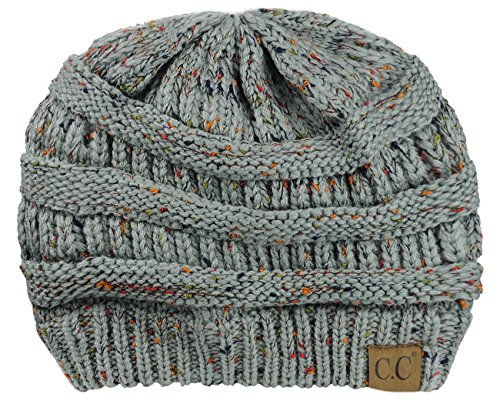 NYfashion101 Exclusive Colorful Confetti Soft Stretch Cable Knit Slouch Beanie - Natural Gray