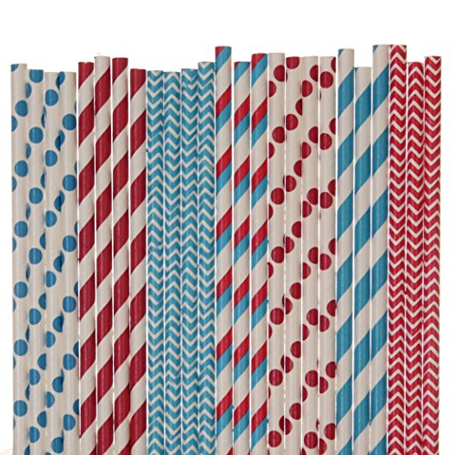 Dr Seuss Paper Straw Mix - Red and Blue - Striped, Polka Dot, Cevron (25)