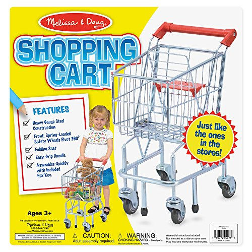 61v6zpMiC L - Melissa & Doug Toy Shopping Cart With Sturdy Metal Frame