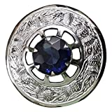Scottish Fly Plaid Kilt Brooch Thistle Design Stone Chrome Finish (Navy Blue Stone)