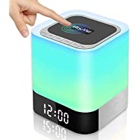 BixMe Night Light Bluetooth Speaker, Bedroom Alarm Clock MP3 Player,Touch Control Bedside Lamp,Multicolor Changing Table…