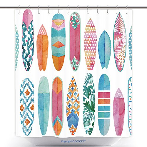 Mildew Resistant Shower Curtains Watercolor Surfboard Pattern Seamless Summertime Surf Illustration 584383804 Polyester Bathroom Shower Curtain Set With Hooks