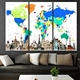 Extra Large Contemporary Abstract Wall Art Retro Atlas Print Canvas Map Of World, Oversized map Wall Art, Living Room, q69