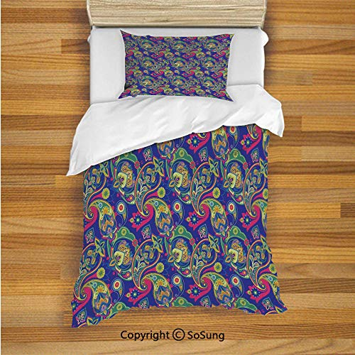 SoSung Paisley Kids Duvet Cover Set Twin Size, Classic Persian Jacquard Boteh Ikat Motifs Old Welsh Pears Artwork 2 Piece Bedding Set with 1 Pillow Sham,Indigo and Olive Green