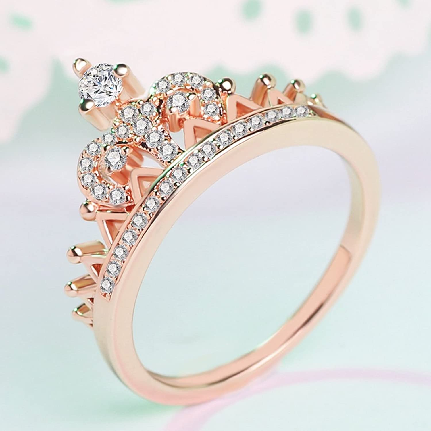 Amazon: Women's Crown Tiara Rings Exquisite 18k Gold Plated Princess  Tiny Cz Diamond Accented Promise Rings For Her Size 510: Jewelry