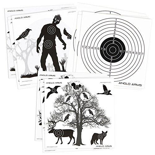 150 x Anglo Arms 50 de Chaque 140 x 140mm Papier Chasse Cibles Ensemble en Zombies Animaux et Anneaux DNA