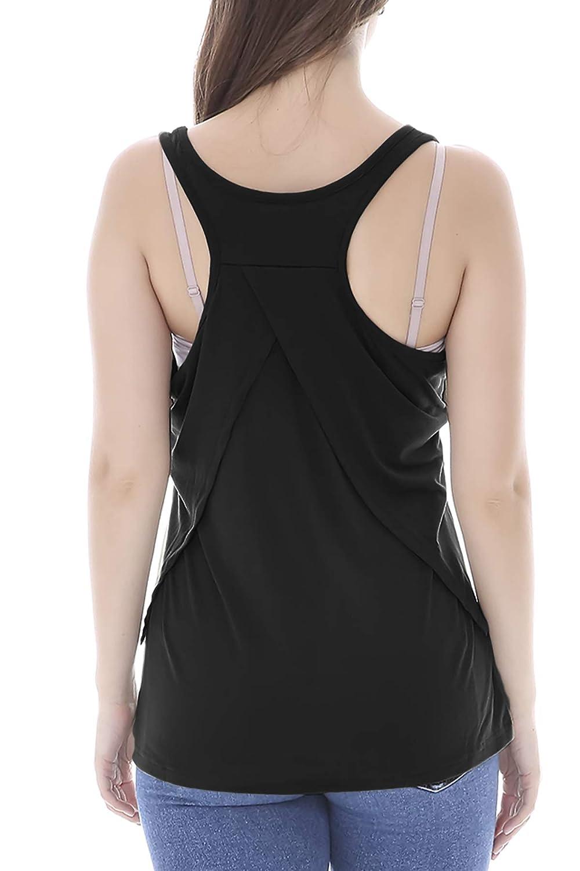 Daoveroa Womens Sleeveless Nursing Tank Tops Double Layer Breastfeeding Shirts