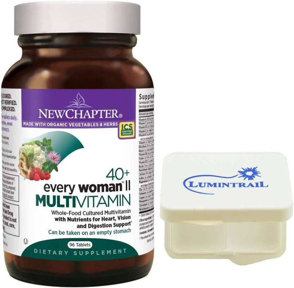 New Chapter Every Woman II Multivitamin 40 Fermented with Probiotics, B Vitamins, Vitamin D3-96 Tablets Bundled with a Lumintrail Pill Case