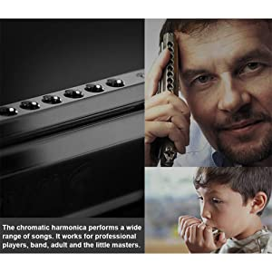 Chromatic Harmonica Professional Grade 10 Hole 40 Tone Key of C Stainless Steel Heavy Duty with Case & Cleaning Cloth for Professional Player,Band,Beginner,Students,Children,Kids,by Eison-Swan TS4035 (Color: Chromatic Harmonica)