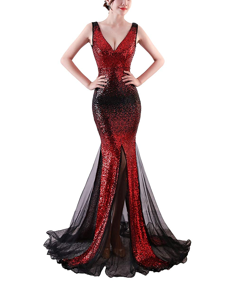 1378red Chowsir Women Sexy Elegant Slim Sequin Long Cocktail Party Evening Dress