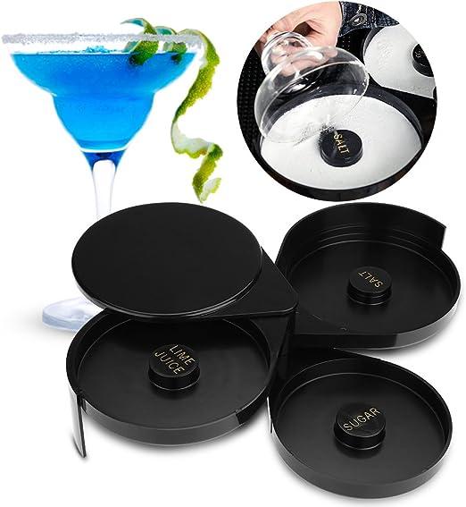 Durable Acrylic ABS Bar Glass Rimmer for Cocktail Bartender Tool Party Home Black Bar 3 Tier Sugar Salt Rim Lime Rimmer