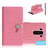LG G3 Case Tradekmk(TM) Luxury Glitter Bling Crystal Rhinestone PU Leather Wrist Wallet Stand Cover Compatible with LG G3[+Stylus]-(Pink)