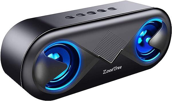 ZoeeTree S8 Altavoz Bluetooth Portatil con Luces LED, Sonido HD de 10 W, 24 Horas de Juego, Bluetooth 5.0 & 3.5mm AUX, Llamadas Manos Libres, Altavoces para Coche, Moto, hogar, Deportes: Amazon.es: Electrónica