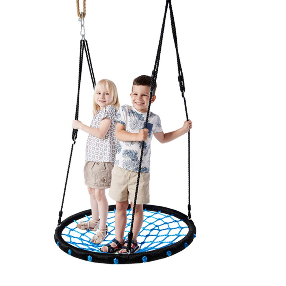 Giant 40  Flying Saucer Tree Swing, Kids Indoor Outdoor Round Mat Swing, Easy to Install, PE Rope + Steel Pipe