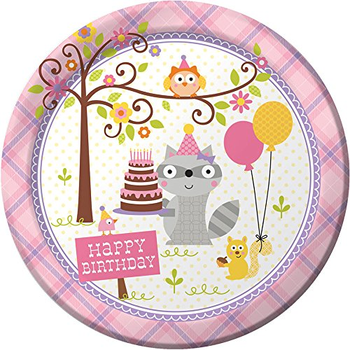 """Happi Woodland Girl Dinner Plate 8.75""""  Party Supplies"""