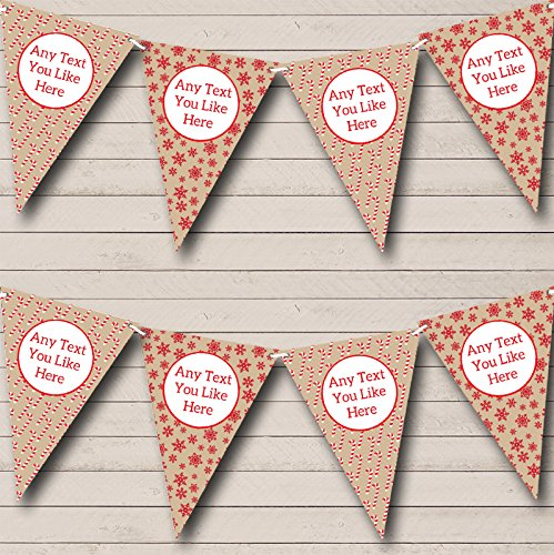 Candy Canes Snowflakes Personalized Christmas Decoration Bunting Banner