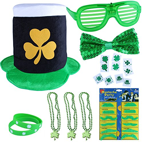 St. Patrick's Day Accessory Set 30 Pieces Party Favors with St. Patrick Shamrock Fedora Hat, Shamrock Beads Necklace, Green Mustaches, Sequin Bow, Light-up Glasses, Temporary Tattoos, and Rubber