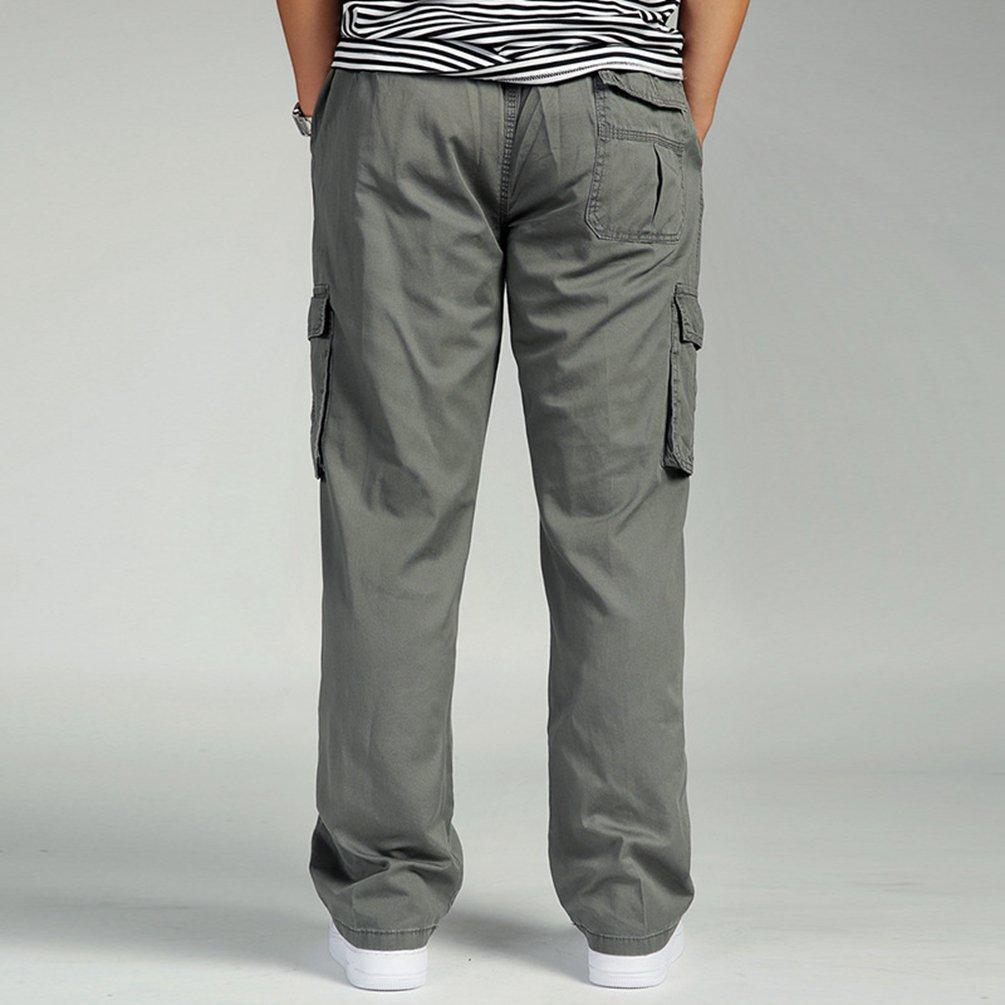 Lvguang Hombre Cargo Pantal/ón Militares Largo Pantalone Trabajo Deporte Pantalones Al Aire Libre Ocio con Muchos Bolsillos