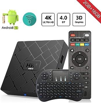 Android 8.1 TV Box Aumkoo HK1 Mini Inteligente de Cuatro núcleos 64 bits 2 GB de RAM + 16GB ROM 4K TV Reproductor de Medios H.265 Descodificación 2.4GHz WiFi: Amazon.es: Electrónica