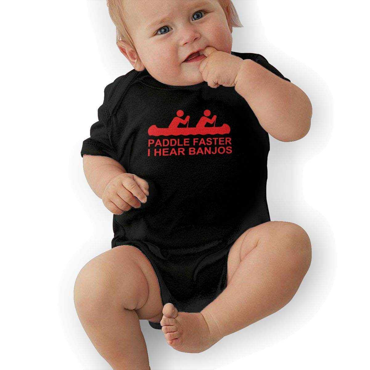 TAOHJS97 Toddler Paddle Faster I Hear Banjos Movie Short Sleeve Climbing Clothes Bodysuits Suit 6-24 Months Black