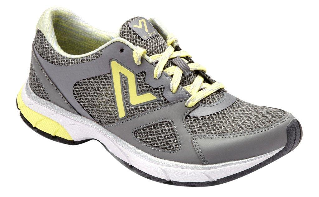 Vionic Women's Satima Active Sneaker, Grey Yellow 9 Medium
