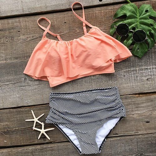 XIAOHUAHUA Taille Haute Qualité Maillot Rayé Bikinis Flounced Hot Spring Resort Beach Maillot