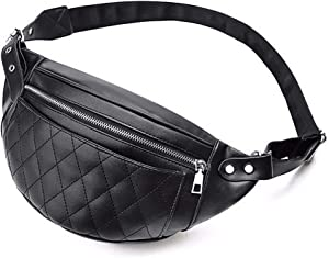 Extra Large Black Leather Fanny Pack Quilted Crossbody Fanny Pack Purse Belt Bag Waterproof Waist Bag for Women Fashion Hip Pouch