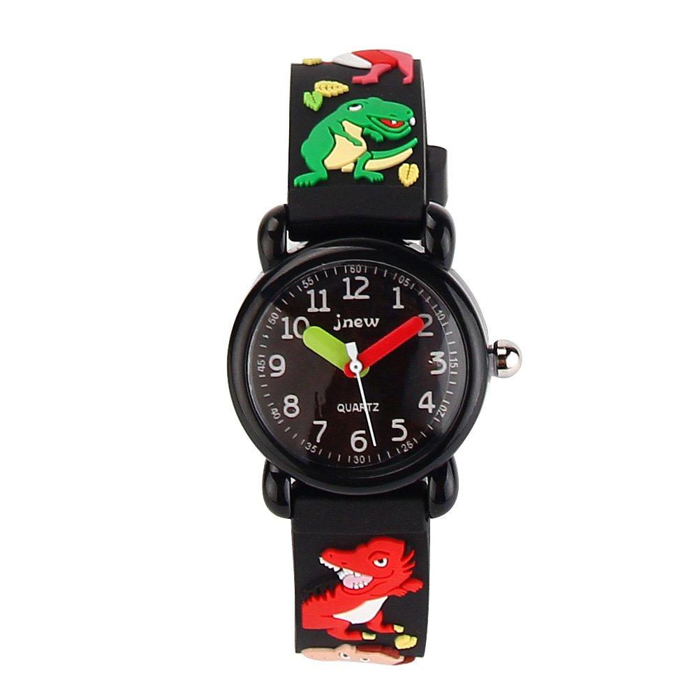 Jian Ya Na Cute 3D Cartoon Digital Silicone Wristwatches Time Teacher Birthday Gifts for Aged 3-8 Girls Boys (3D Dinosaur-Black(A))