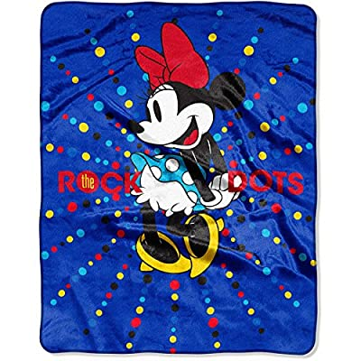 """Disney Minnie Mouse 'Rock the Dots' 40"""" x 50"""" Silky Soft Throw: Home & Kitchen"""