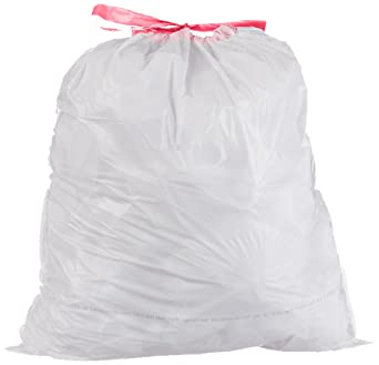 Amazonbasics 13 Gallon Tall Kitchen Trash Bag With Draw String 0 9 Mil White 300 Count