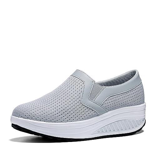 Zapato mujer con tacón de cuña,cesta Air Cushion sin encaje Mocasines de cesta Cómodo