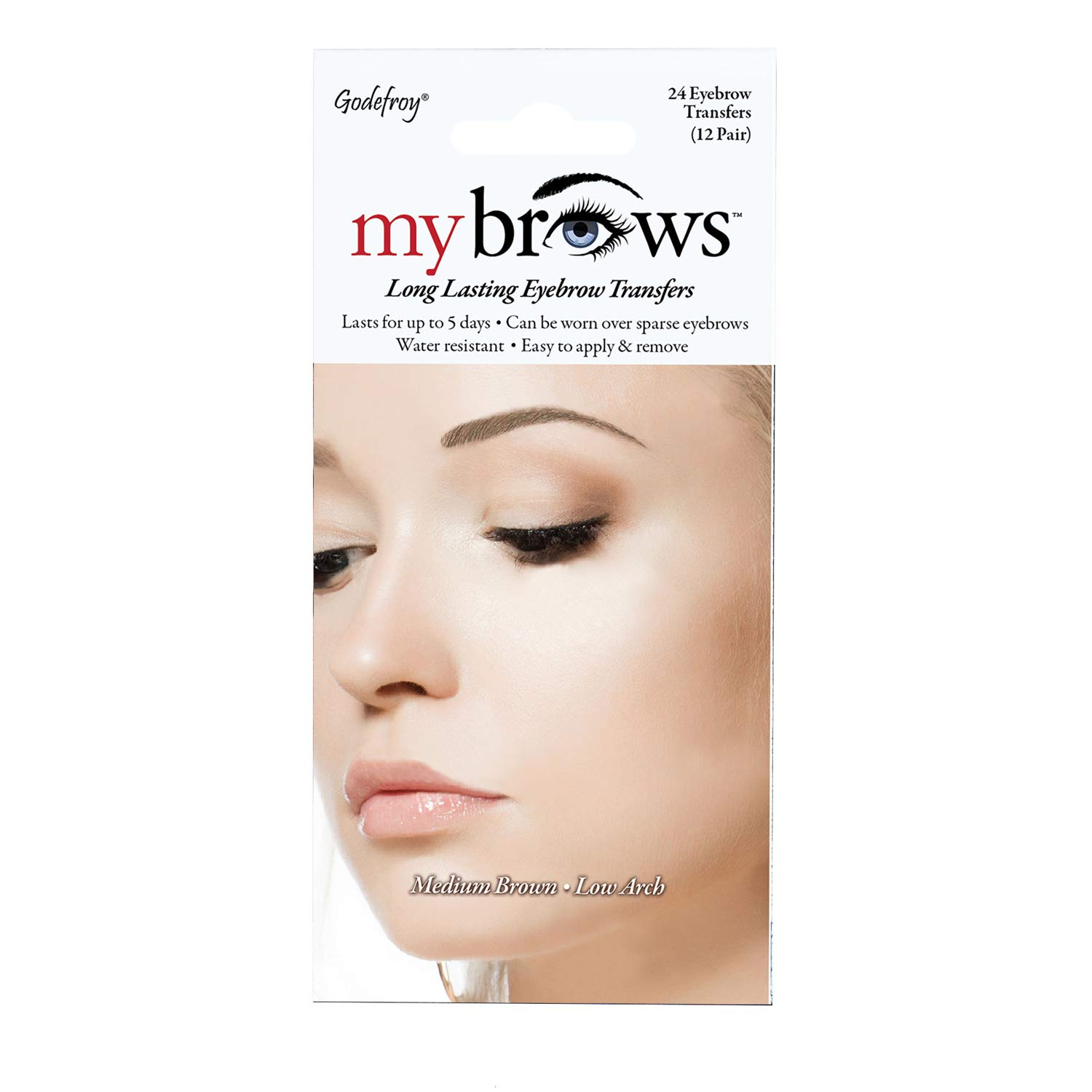 Amazon Com Godefroy Mybrows Long Lasting Eyebrow Transfers Low Arch Medium Brown 12 Pairs Of Brows Beauty