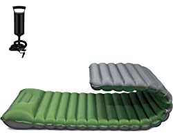 FRUITEAM Sleeping Pad for Camping Inflatable Sleeping Mat for Backpacking Camping Mattress with Pillow, Better Stability and