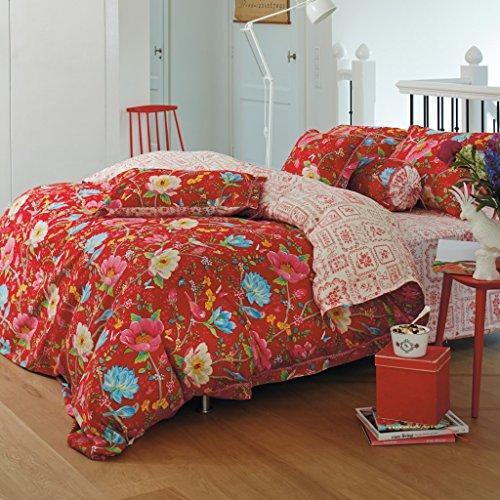 Pip Baumwoll-Flanell-Wendebettwäsche Chinese Garden 135x200 cm red