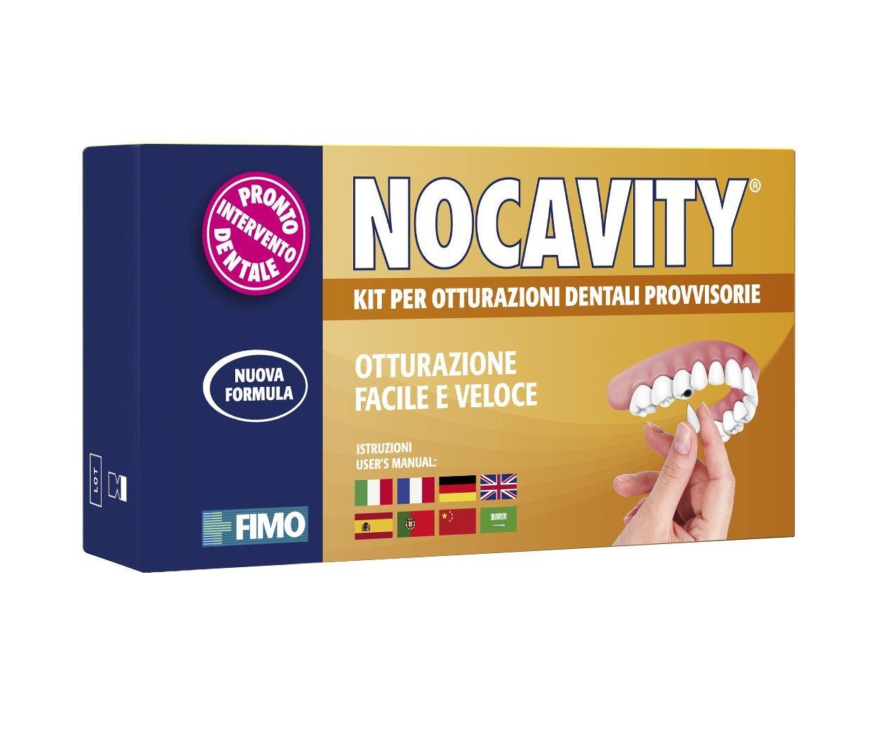 Nocavity NUOVA FORMULA Kit per Otturazioni Dentali Provvisorie. Isola la cavità dentale e riduce il dolore in caso di perdita di otturazioni, piccole carie