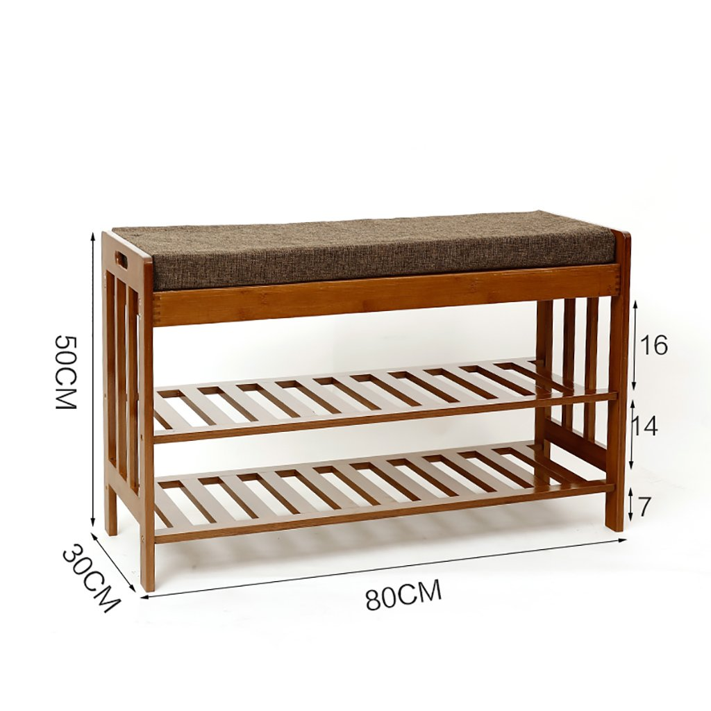 80 cm shoes Bench Organizing Rack Natural Bamboo for The shoes Stool Simple Sofa Stool Household Storage shoes Stool Nanzhu shoes Cabinet (Size   57cm)