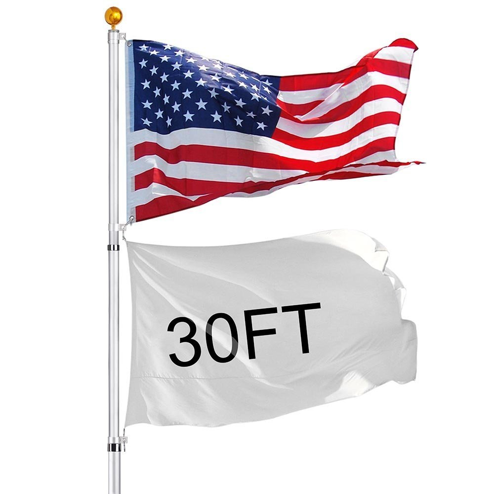 30 ft Aluminum Telescopic Flag Pole 6 sections 16 Gauge Rustproof w/ Gold Ball Finial Top Mount + Free American Flag Kit