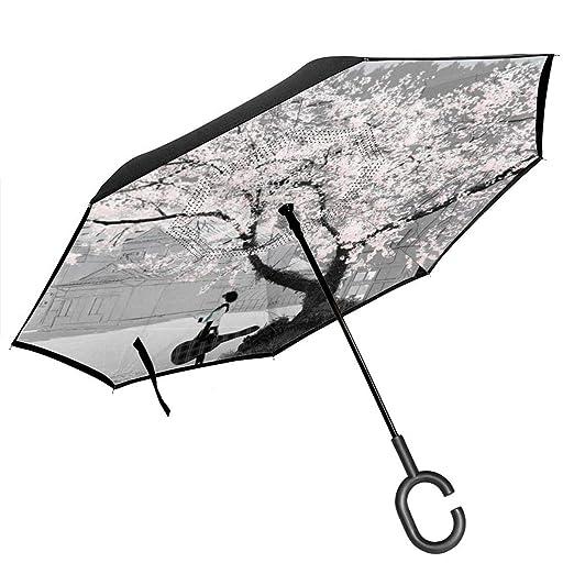 Csiemns Cherry Blossom Paraguas invertido invertido al revés ...