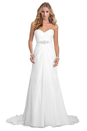 Amazon.com: Dreambridal Women\'s Chiffon A-Line Bodice Wedding ...