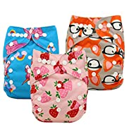 Ohbabyka Baby Reusable Waterproof Bamboo Cloth Diapers Nappies + 3 pics Insert (One Size, Girls)