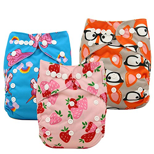 Ohbabyka Baby Reusable Waterproof Bamboo Cloth Diapers Nappies + 3 pics Insert (One Size, Girls)