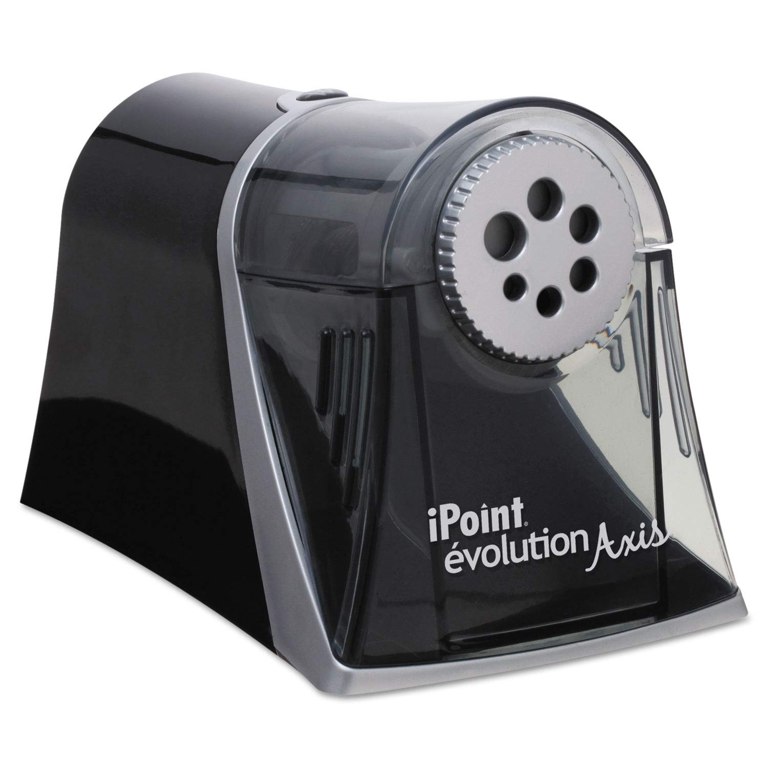 iPoint Evolution Axis Pencil Sharpener, Black/Silver, 5w x 7 1/2 d x 7 1/4h - 15509