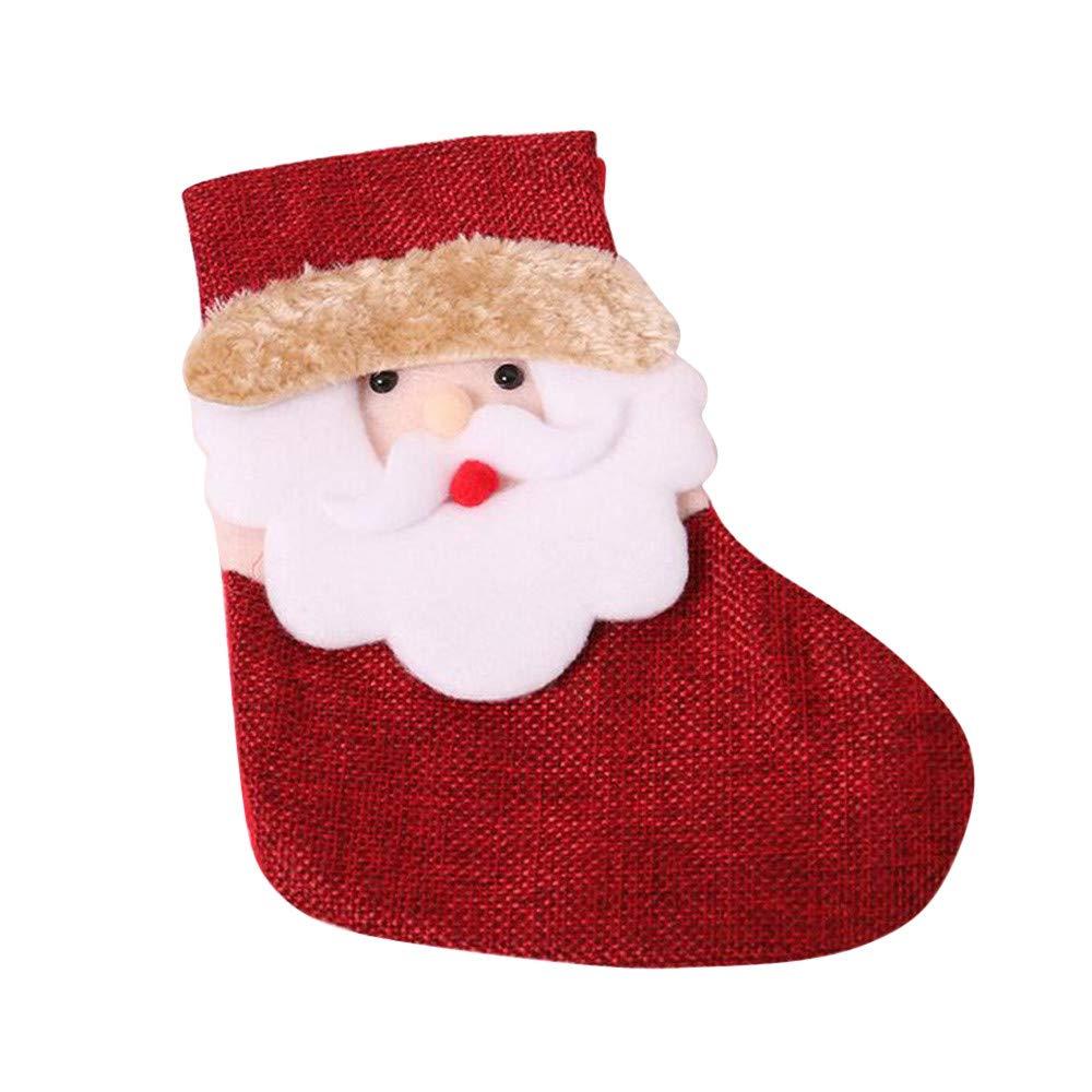 Storage Stocks, Christmas Candy Bag Tree Ornament Socks Supplies, Christmas Santa Claus Candy Gift Bag Xmas Hanging Decor Santa Sock Hanging Stocking Bag (A)