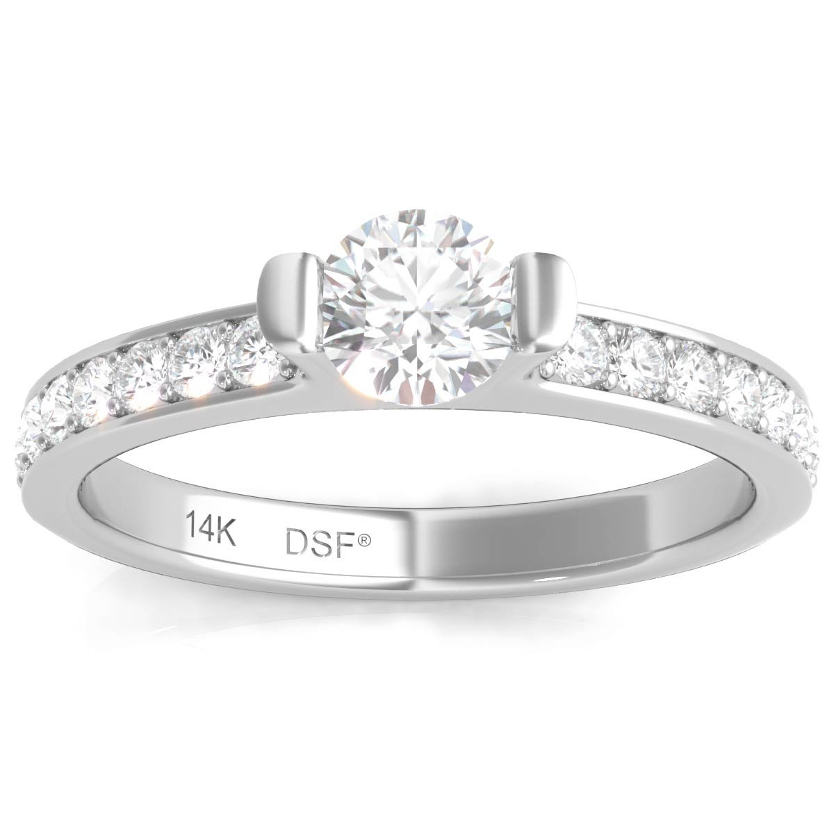 Diamond Studs Forever 14K White Gold Diamond Engagement Ring (3/4 Ct tw, IGI USA Certified GH/I1)