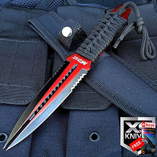 "8.5"" MTech Stainless Steel Tactical Fixed Red Double Edge Dual Blade Dagger + eBOOK by MOON KNIVES"