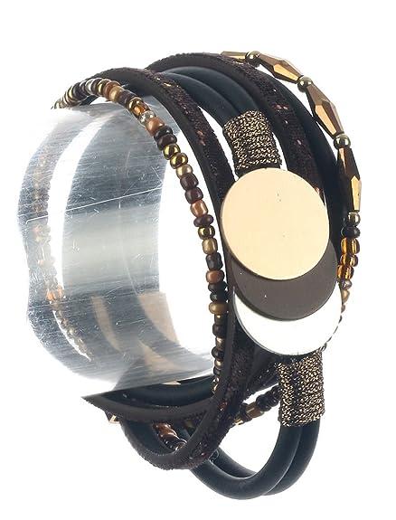 ccc175b07 Amazon.com  MULTI STRAND FAUX LEATHER WRAPAROUND BRACELET  Jewelry