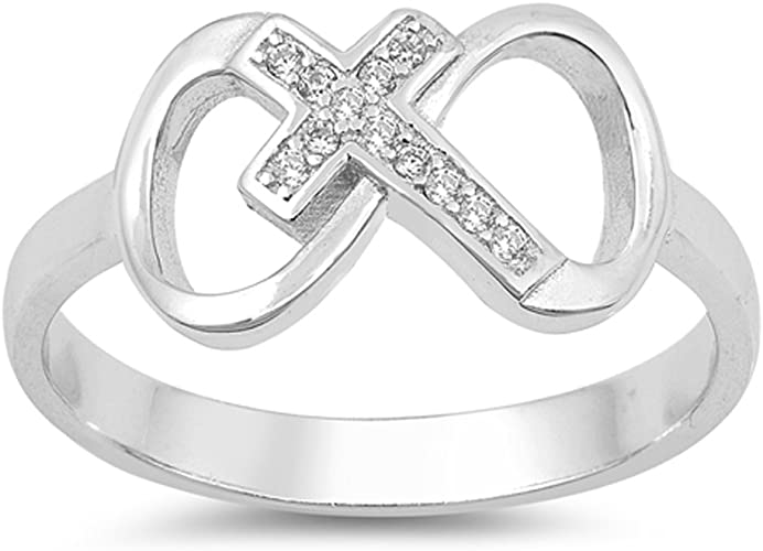 Clear CZ Infinity Love Knot Heart Promise Ring Sterling Silver Sizes 4-10 NEW