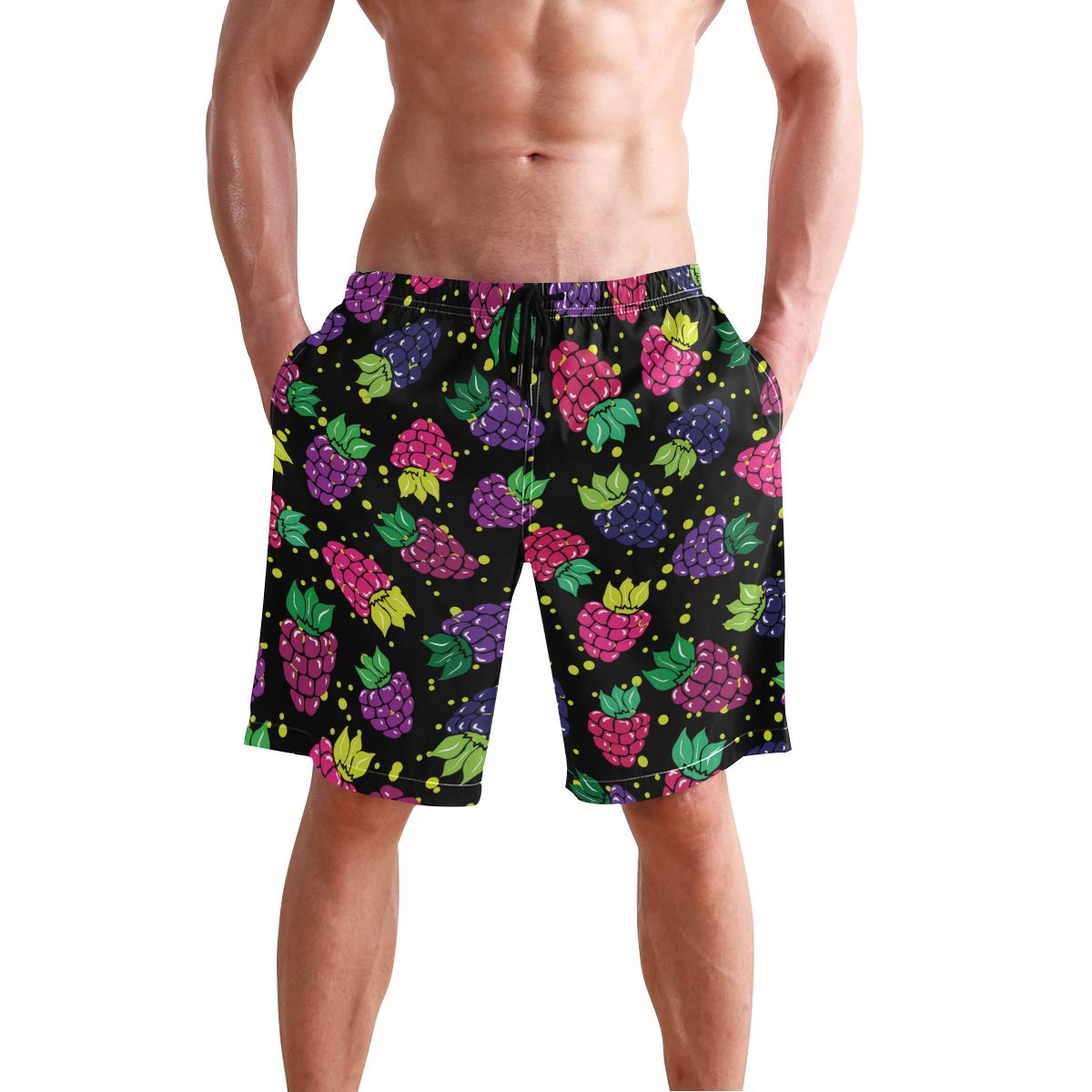 WIHVE Mens Beach Swim Trunks Wild Garden Berries Boxer Swimsuit Underwear Board Shorts with Pocket