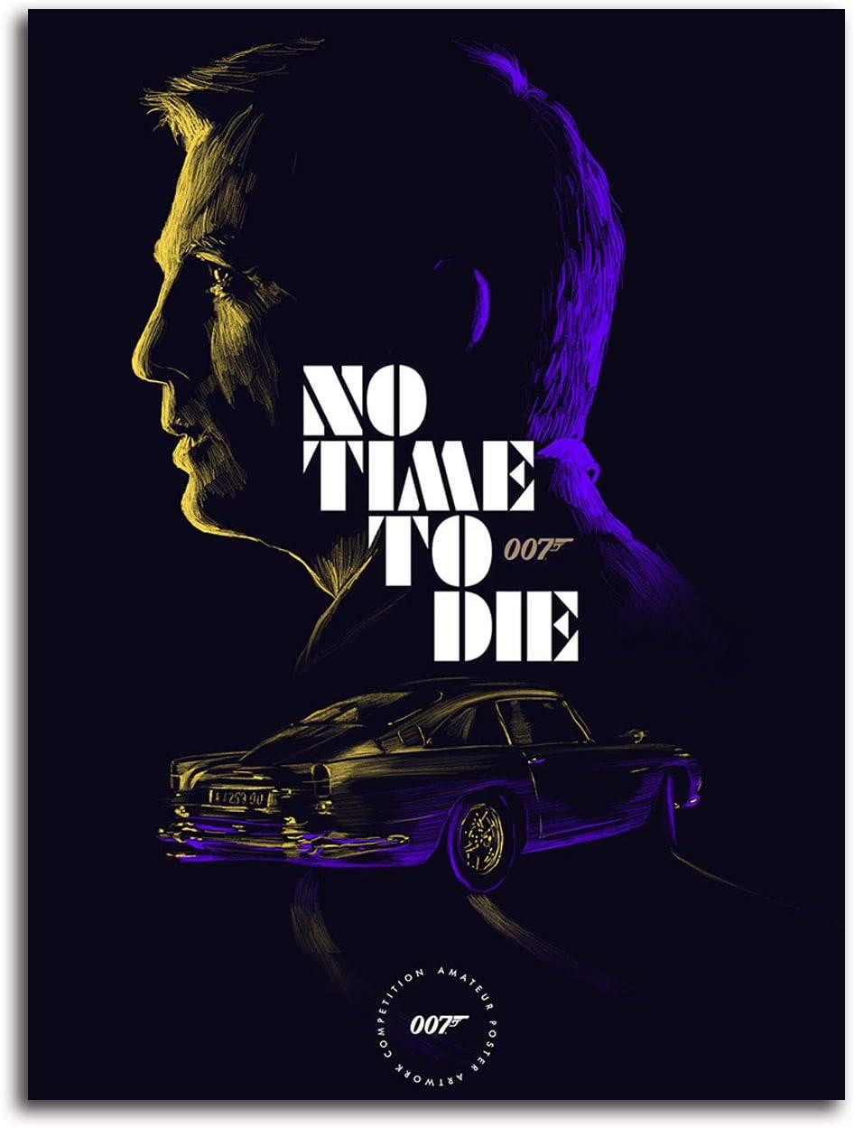 Ariago No Time to Die (2023) Lienzo impreso de 45,7 x 61 cm, James Bond 007 Spy Movie Daniel Craig Canves Póster de sala de estar y dormitorio, sin marco