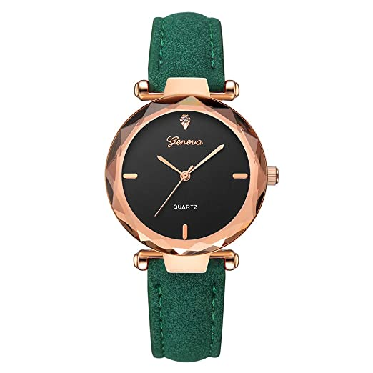 BBestseller Moda Relojes para Mujer, Cuero PU Acero Reloj de Ginebra Relojes de Pulsera Accesorios
